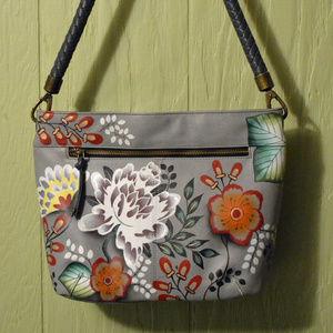 Anuschka Anna Leather Flower Hobo Shoulder Bag EUC